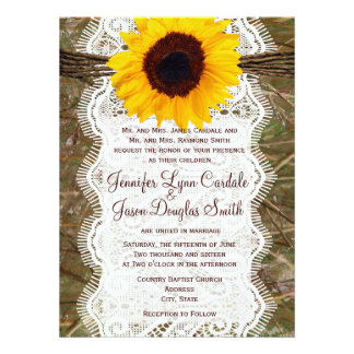 Camo and Lace Sunflower Wedding Invitations