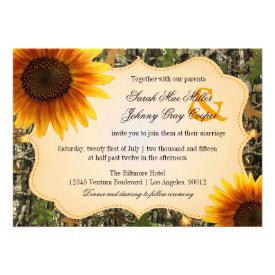 Camo and Orange Sunflower Wedding Invitation
