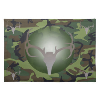 Camo and Silver Deer Skull & Antlers Placemat