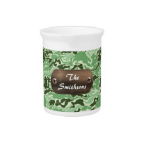 camo army brown and green personalized beverage pitcher
