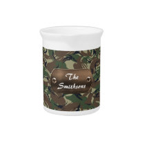 camo army brown and green personalized drink pitcher