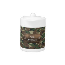 camo army brown and green personalized teapot