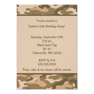 Camo Army Brown Birthday party invitation