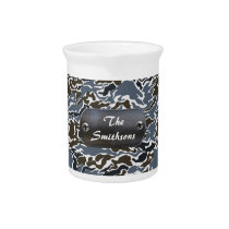 camo army gray personalized beverage pitcher