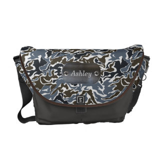 camo army gray personalized messenger bag