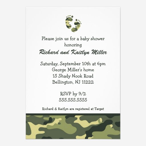 Custom army baby shower invites templates babyfavors4u camo army green baby feet shower invitation filmwisefo Gallery