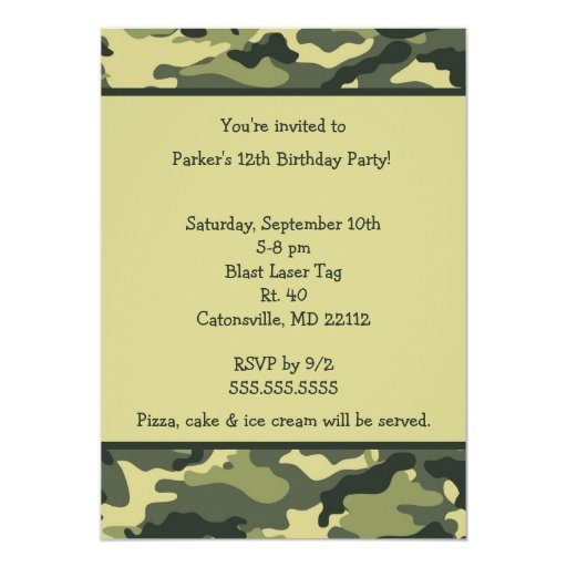 Camo army green birthday party invitation zazzle for Camouflage party invitation template
