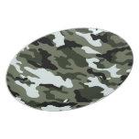 Camo Army Green Black White Kids Plate