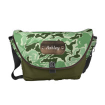 camo army green personalized messenger bag