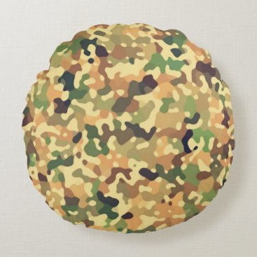 Camo Autumn Round Pillow