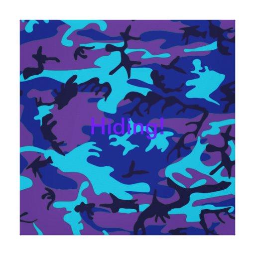 Camo azul marino y púrpura estiró la impresión de  impresión en lienzo estirada
