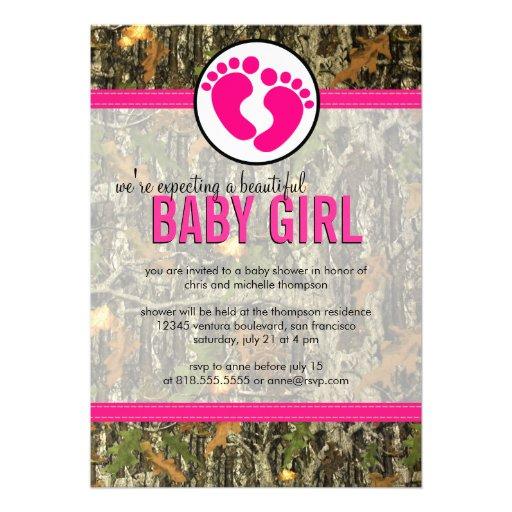 Camo   Baby Girl Shower Invitation