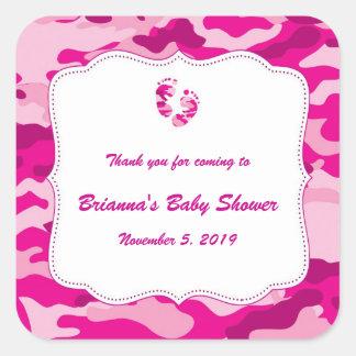 Camo Baby Shower Favor Label Hot Pink