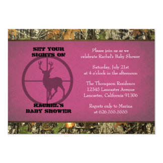 Camo Baby Shower - Girl Invitations
