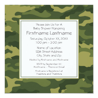 """Camo Baby Shower or Party 5.25"""" Square Invitation Card"""
