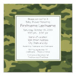 Camo Baby Shower or Party Invitations