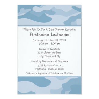 """Camo Baby Shower or Party - light blue 5"""" X 7"""" Invitation Card"""