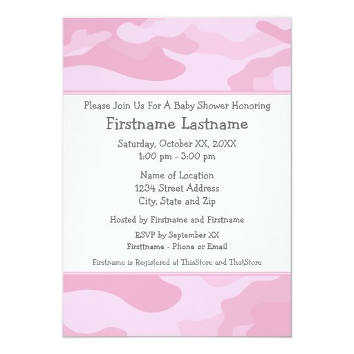 camo baby shower or party light pink 5x7 paper. Black Bedroom Furniture Sets. Home Design Ideas