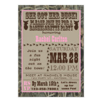 Camo Bachelorette Party Invitation Pink