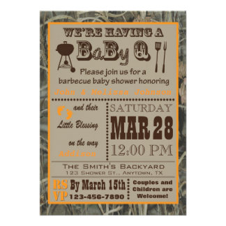 Camo Barbecue BabyQ Baby Shower Custom Announcement