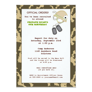 "Camo Birthday Invite 5"" X 7"" Invitation Card"