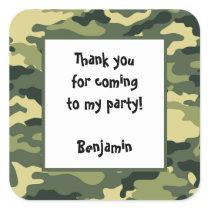 Camo Birthday Party Favor Sticker green