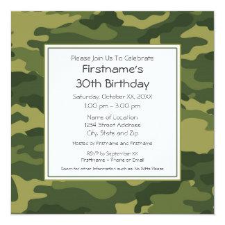 """Camo Birthday Party 5.25"""" Square Invitation Card"""