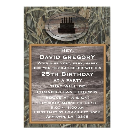 Personalized Hunting birthday Invitations CustomInvitations4Ucom