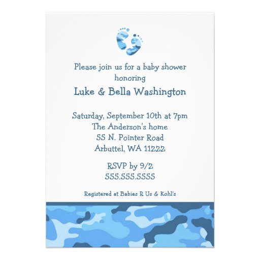 Camo Blue Baby Feet Shower Invitation