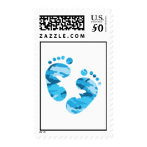 Camo blue Feet Postage Stamp for baby boy shower