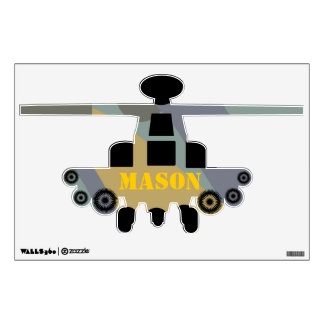 Camo Blue Gray Green Yellow Helicopter Wall Decal