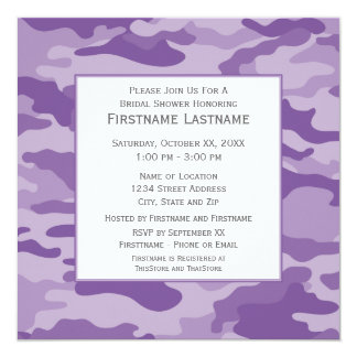 Camo Bridal Shower or Engagement Party 5.25x5.25 Square Paper Invitation Card