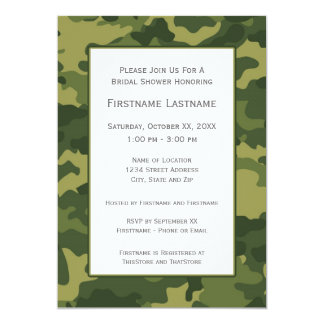 """Camo Bridal Shower or Engagement Party 5"""" X 7"""" Invitation Card"""