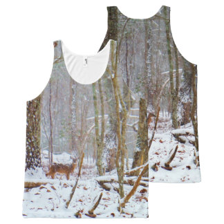 Camo Camouflage deer in snow All-Over Print Tank Top