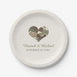 CAMO CAMOUFLAGE HEART WEDDING 7 INCH PAPER PLATE