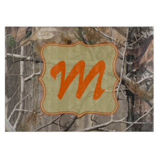 Camo Camouflage Hunti Monogram Glass Cutting Board