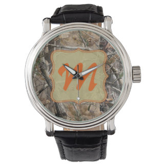 Camo Camouflage Hunting Real Leather Band Watch