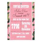Camo Camouflage &  Pink Birthday Party Invitation