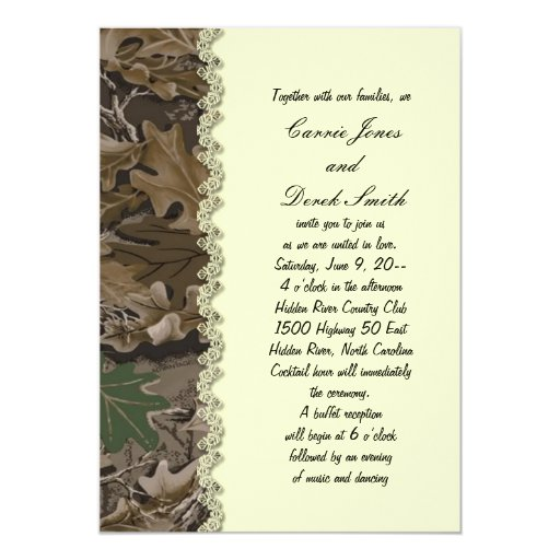 Camo camouflage wedding invitation zazzle