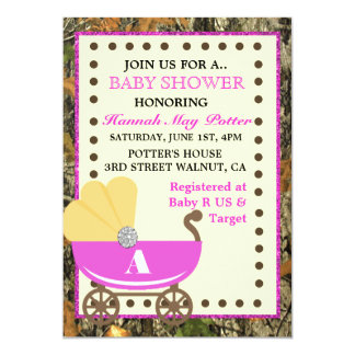 Camo Carriage Baby Shower Party Invitation