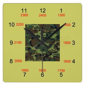 Camo Center Military Time Wall Clock