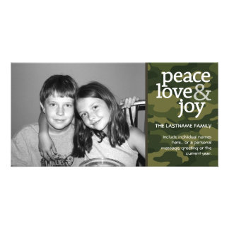 Camo Christmas Photo Card - Peace Love Joy