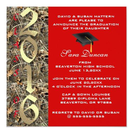 Camo classic elegant 2016 graduation invitation zazzle