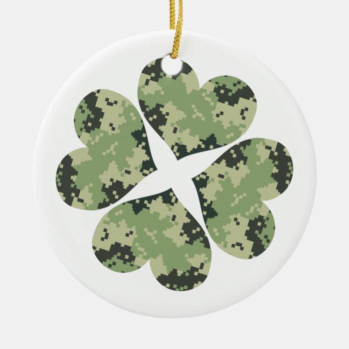 Camo Clover Ceramic Ornament
