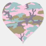 Camo con una torsión pegatina en forma de corazón
