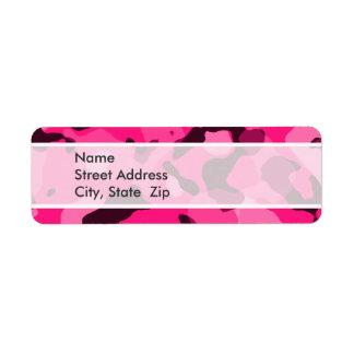 Camo de color rosa oscuro; Camuflaje Etiqueta De Remite