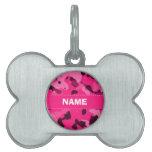 Camo de color rosa oscuro; Camuflaje Placas De Nombre De Mascota