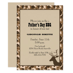 Camo Deer Father's Day Party Invitation