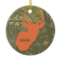 Camo & Deer Head Personalized Ornament