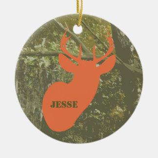 Camo & Deer Head Personalized Ornament